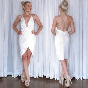 Deep Plunge Sexy Backless Cocktail Party Dress